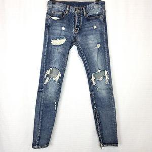 MNML Ankle Zip Distressed Stretch Jean 30